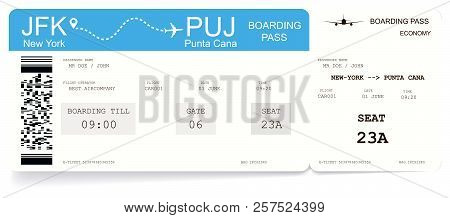 Airline Boarding Pass Or Airplane Ticket. Pattern Of Boarding Pass For Flight From New-york To Punta