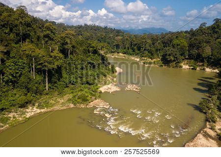 Aerial view of the Tembeling river in the Taman Negara tropical rainforest , Malaysia
