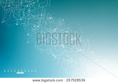 Science Network Pattern, Connecting Lines And Dots. Modern Futuristic Virtual Abstract Background Mo