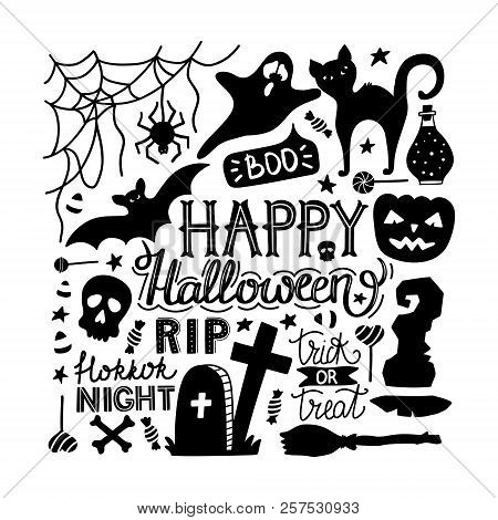 Hand Drawn Halloween Doodles Print With Lettering, Pumpkin, Bat, Cat, Ghost And Other Elements. Vect