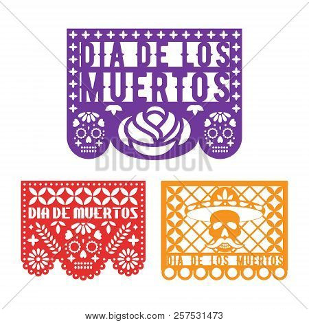 Papel Picado, Mexican Paper Decoration For Dia De Los Muertos Holiday. Day Of The Dead. Vector Templ