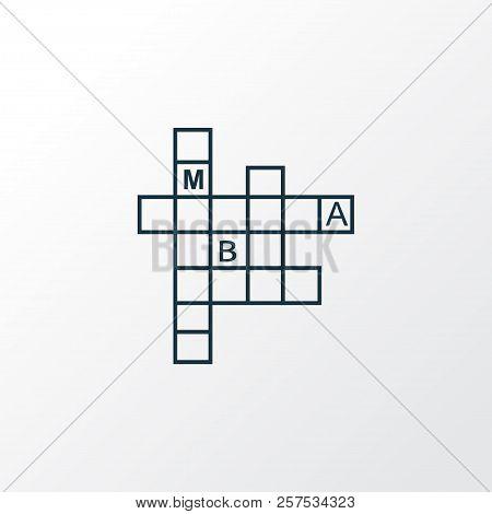 Crossword Icon Line Symbol. Premium Quality Isolated Rebus Element In Trendy Style.