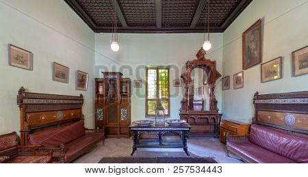 Cairo, Egypt - August 26 2018: Historical Manial Palace Of Prince Mohammed Ali. Ceremonies Room With