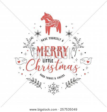 Scandinavian Style, Simple And Stylish Merry Christmas Greeting Card With Hand Drawn Elements, Quote