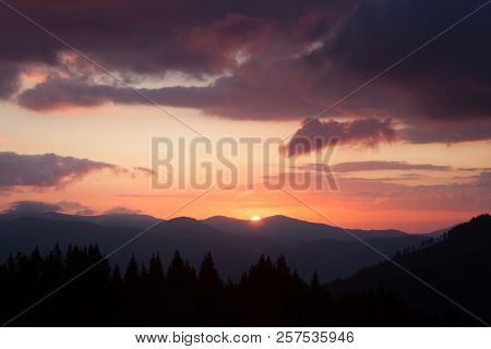 Smoky Mountains Ridge At Sunrise. Great Smoky Mountains National Park, Usa