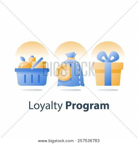 Full Grocery Basket, Loyalty Program, Redeem Reward Gift, Present Box, Earn Bonus Points, Collect To