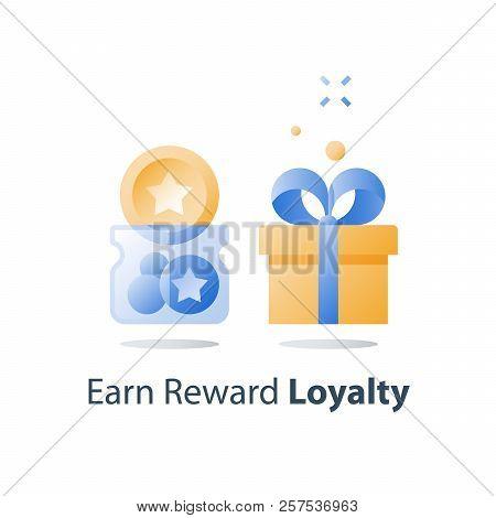 Earn Points, Loyalty Program, Collect Bonus Tokens, Reward Gift, Present Box, Redeem Prize, Perks Co