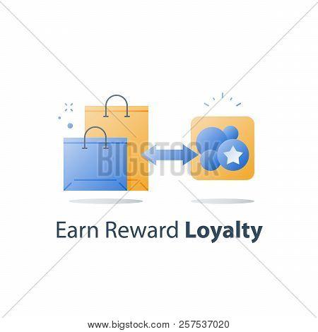 Reward Points, Earn Gift, Loyalty Concept, Incentive Program, Redeem Gift, Collect Bonus, Shopping B