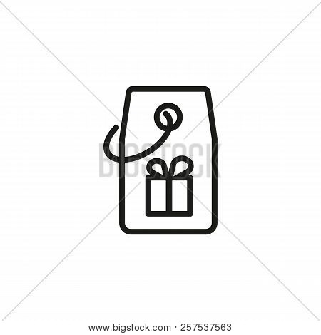 Tag With Gift Box Line Icon. Holiday Shopping, Present, Bonus. Holiday Concept. Vector Illustration