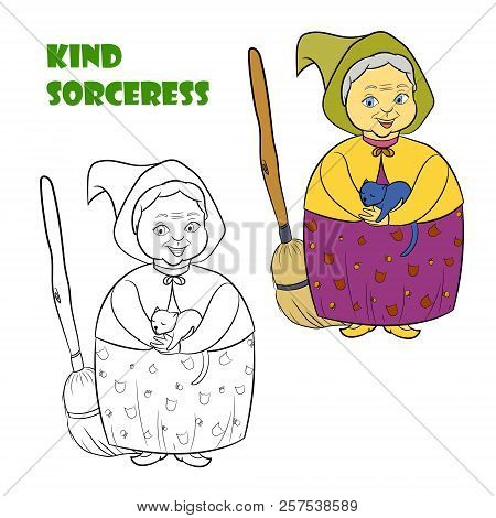 Coloring Book Page For Children With Colorful Halloween Witch Sorceress And Sketch To Color. Vector