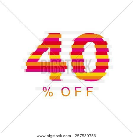 40% Off Discount. Sale Vector Symbol. Abstract Vector Illustration. Number Made Of Vertical Stripes.