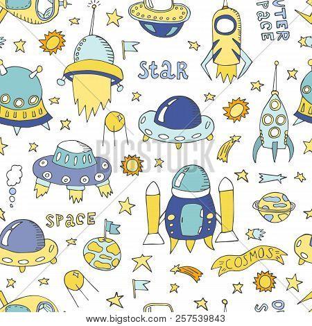 Vector Cartoon Alien Spaceships