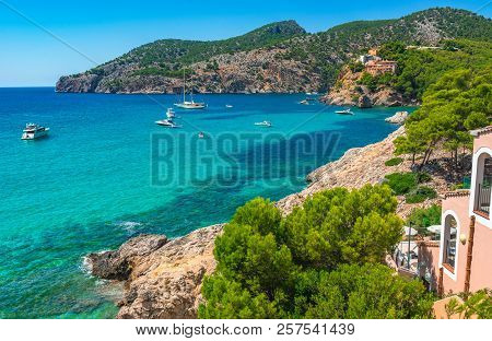 Bay With Yachts Boats At Coastline Of Camp De Mar, Idyllic Bay Of Mallorca, Spain Mediterranean Sea