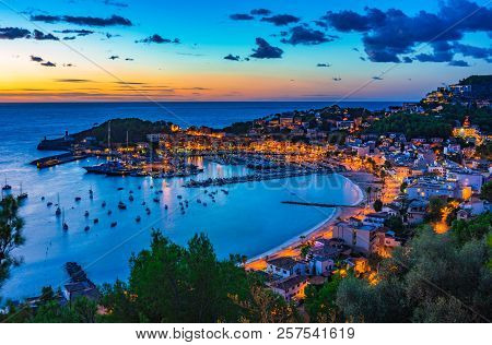 Idyllic Sunset View Of Port De Soller On Mallorca, Balearic Islands, Spain Mediterranean Sea