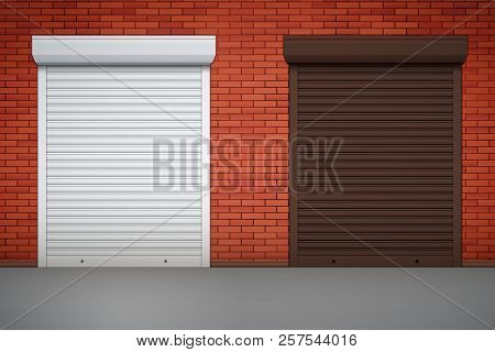 Set Of Closed Roller Shutters Gate On Red Brick Wall. Protect System Equipment. White And Brown Colo