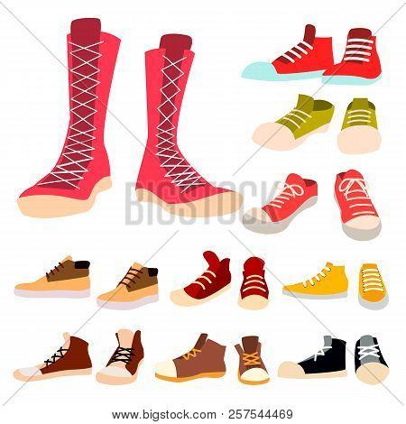 Sneakers Set Vector. Pair Of Casual New Sport Footwear. Foot Wear, Shoe, Shoelace. For Running, Spor
