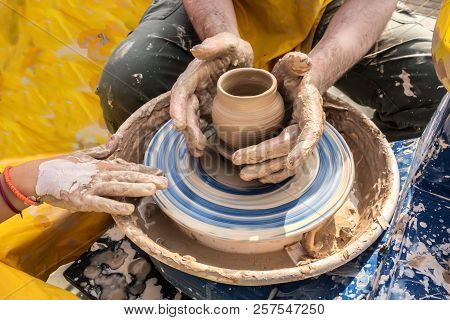 Process Of Rotation Of Potter's Wheel, Hands Of Ceramist