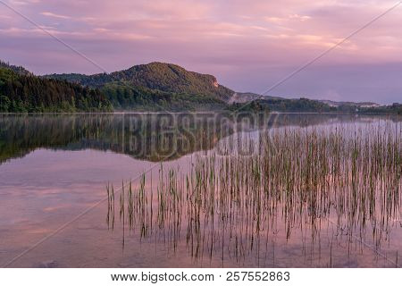 French Landscape - Jura. View Over The Lake Of Ilay In The Jura Mountains (france) At Sunrise With R
