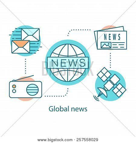 Global News Concept Icon. Broadcasting Idea Thin Line Illustration. Mass Media.  Breaking News. News