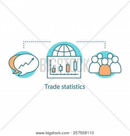 Trade Statistics Concept Icon. Globalization Idea Thin Line Illustration. International Trade. Socie