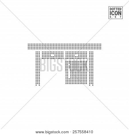 Writing Desk Dot Pattern Icon. Bureau Dotted Icon Isolated on White Background. Vector Illustration or Design Template. Can Be Used for Advertising, Web and Mobile UI. poster