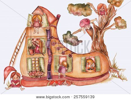 Children's Book Illustration. Watercolor Cute Shoe House With Windows, Roof And Tree Behind And A Lo