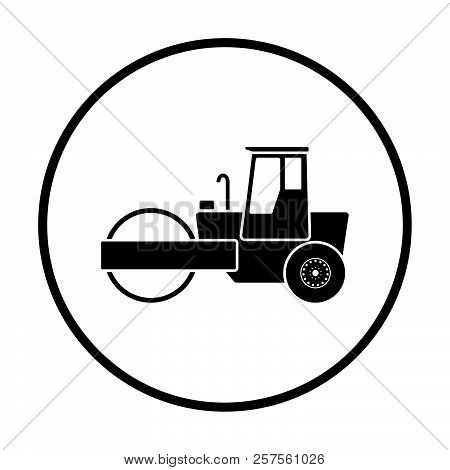 Icon Of Road Roller. Thin Circle Design. Vector Illustration.