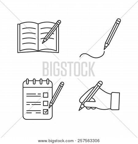 Writing With Pencil Linear Icons Set. Copy Book, Drawing, To Do List, Hand Holding Pencil. Thin Line