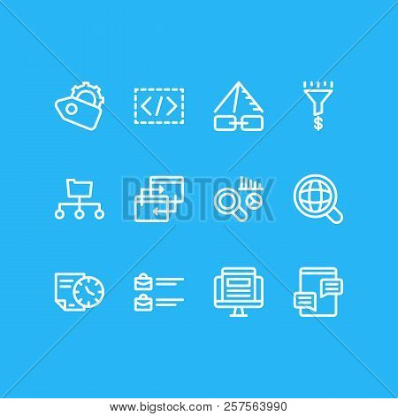 Vector Illustration Of 12 Marketing Icons Line Style. Editable Set Of Pingback, Jobs Open, Directory