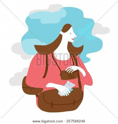 Vector Illustration Of A Happy Woman Holding Flight Tickets And Bagage To Go On Vacation.