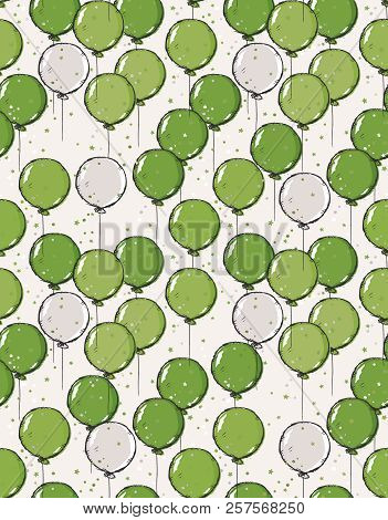 Hand Drawn Balloons Vector Pattern. Green And Gray Balloons With Dark Grey Sketch Outline. Falling T