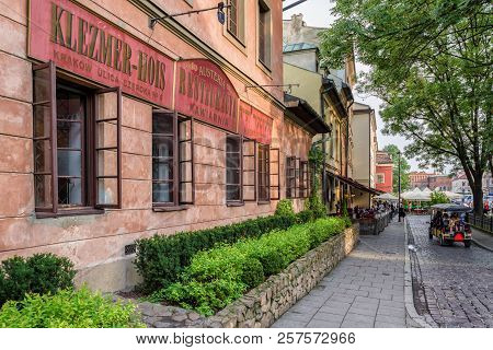Krakow, Poland - August 18:  The Old Jewish Quarter Called Kazimierz On August, 18, 2018 In Krakow