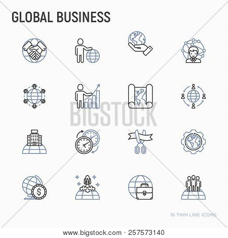 Global Business Thin Line Icons Set: Investment, Outsourcing, Agreement, Transactions, Time Zone, He