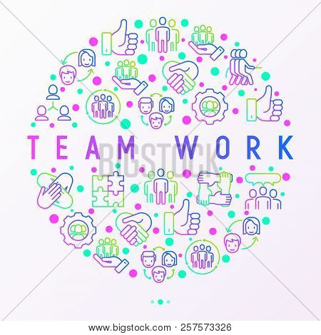 Teamwork Concept In Circle With Thin Line Icons: Group Of People, Mutual Assistance, Meeting, Handsh