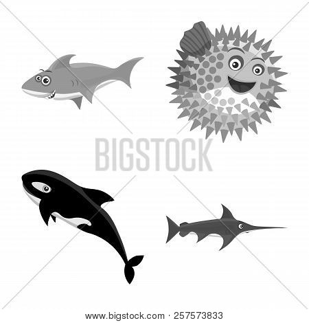 Isolated Object Of Sea And Animal Icon. Set Of Sea And Marine Vector Icon For Stock.
