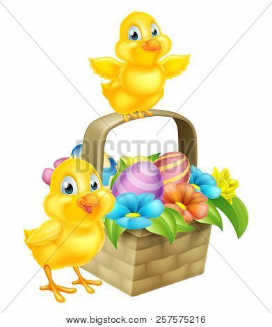 Cartoon Easter Chicks Baby Chicken Birds, Chocolate Painted Easter Eggs And Spring Flowers In An Eas