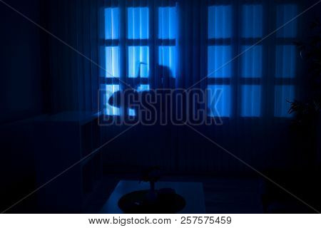burglary or thief breaking into a home at night through a back door, view from inside the residence