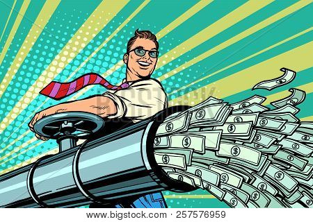 Businessman Opens Pipe, Money Finance Dollars Flow. Pop Art Retro Vector Illustration Kitsch Vintage