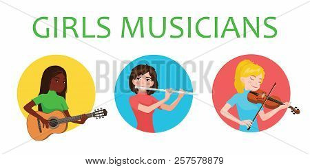 Musicians Girls Of Different Nations Is Inspired To Play Musical Instruments. Violinist, Flutist, Gu