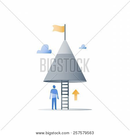 Never give up concept, mountain top, reach higher goal, accomplish challenge, next step level, long way to success, positive thinking, growth mindset, overcome obstacle, steady progress poster