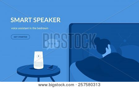 Smart Speaker In The Bedroom. Flat Vector Illustration Of Woman Sleeping In The Bed Asking Something