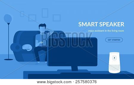 Smart Speaker In The Living Room. Flat Vector Illustration Of Man Watching Tv Connected To White Hom