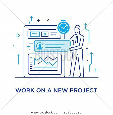 Businessman Configures The Organizer, Project Planning. Workflow, Growth, Graphics. Business Develop