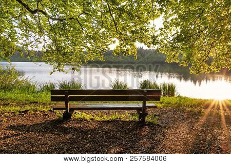 French Landscape - Jura. Trees And Park Bench On The Shore Of The Lake Bonlieu In The Jura Mountains