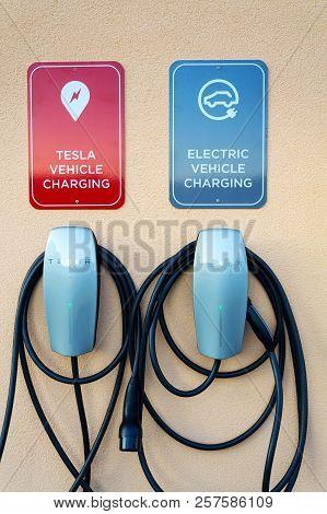Velke Bilovice, Czech Republic - September 8 2018: Tesla Electric Vehicle Plug-in Car Charging Stati