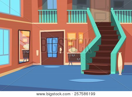 Cartoon Hallway. House Entrance Interior With Stairs And Mirror. Cartoon Indoor Vector Background. H