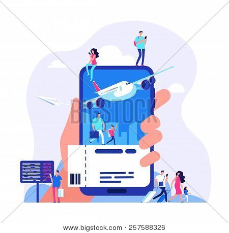 Online Ticket Concept. Buying Tickets With Smartphone. People Booking Plane Or Train Travel Vector I