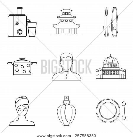 Little Wife Icons Set. Outline Set Of 9 Little Wife Icons For Web Isolated On White Background