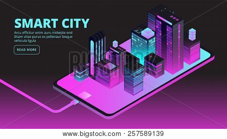 Smart City Technology. Intelligent Buildings In Future City. Isometric 3d Vector Banner. Illustratio