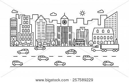 Line City Street. Outline Urban Scene With Buildings, Road And Cars. Modern Vector Cityscape. City U